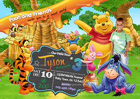 Personalize Winnie and the Pooh Invitation, Tigger Birthday Party Invite