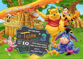 Winnie and the Pooh Party Invitation, Tigger Birthday Invite