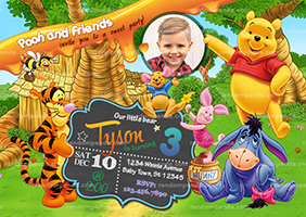 Personalize Winnie and the Pooh Party Invitation, Tigger Birthday Invite
