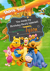 Winnie and the Pooh Thank You Card, Tigger Birthday Party Thanks