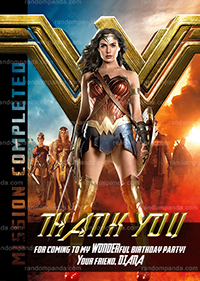 Wonder Woman Thank You Card, Avengers Party, Wonder Woman Birthday Thanks Note
