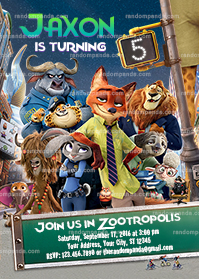 Zootopia Invitation, Zootropolis Invite, Zootopia Birthday Party