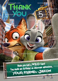 Zootopia Thank You Card, Zootropolis Party, Zootopia Birthday Thanks Note