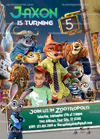 Personalize Zootopia Invitation, Zootropolis Invite, Zootopia Birthday Party
