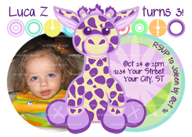 Purple Giraffe Invitation, Giraffe Birthday, Giraffe Party, Giraffe Invite
