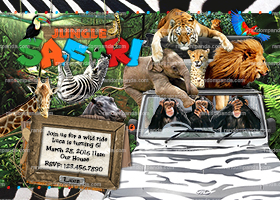 Jungle Invitation, 3 Monkeys in a Jeep, Safari Party, Safari Invite