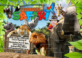 Personalize Jungle Invitation, Ride Elephant, Safari Party, Elephant Invite
