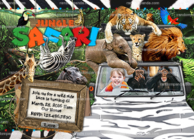 Personalize Jungle Invitation, Ride Jeep, Safari Party, Monkey Invite