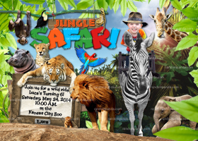 Personalize Jungle Invitation, Ride Zebra, Safari Party, Safari Birthday invite