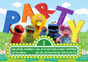 Sesame Street Invitation, Elmo Party, Sesame Street Birthday Invite