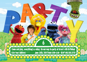 Sesame Street Invitation, Sesame Street Party, Elmo Party invite