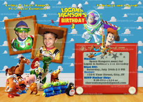 Toy Story Twins Invitation, Twins Party, Buzz Lightyear Twins Invite