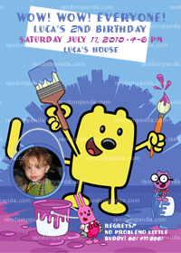 Wow Wow Wubbzy Birthday Party Invitation