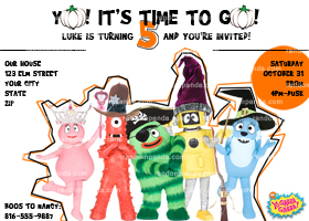 Yo Gabba Gabba Invitation, Yo Gabba Halloween Party Invite
